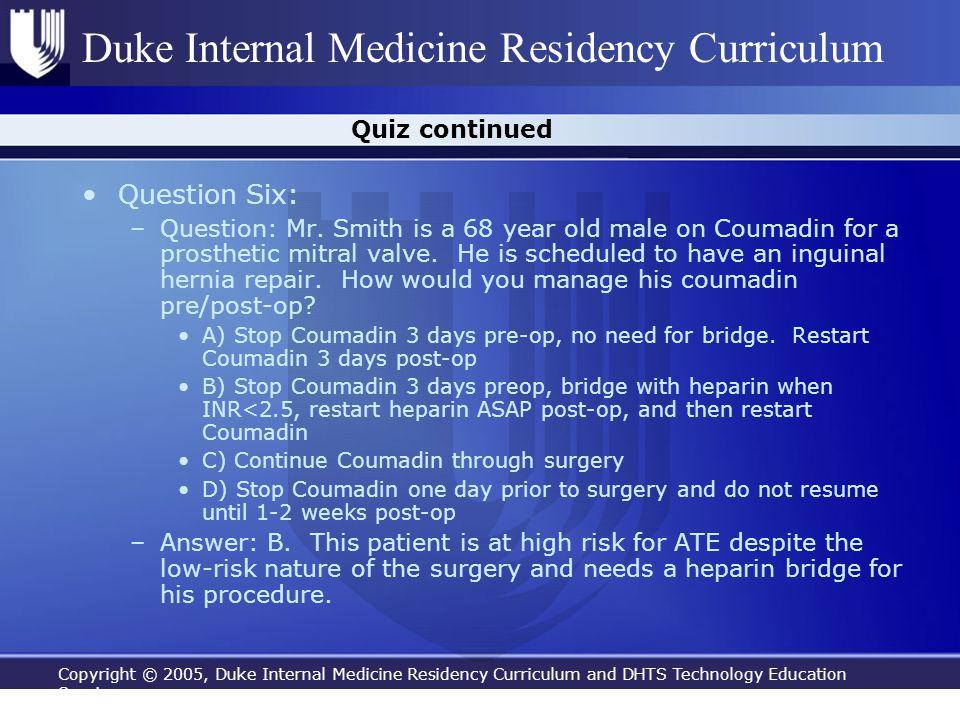 Question Six: Quiz continued