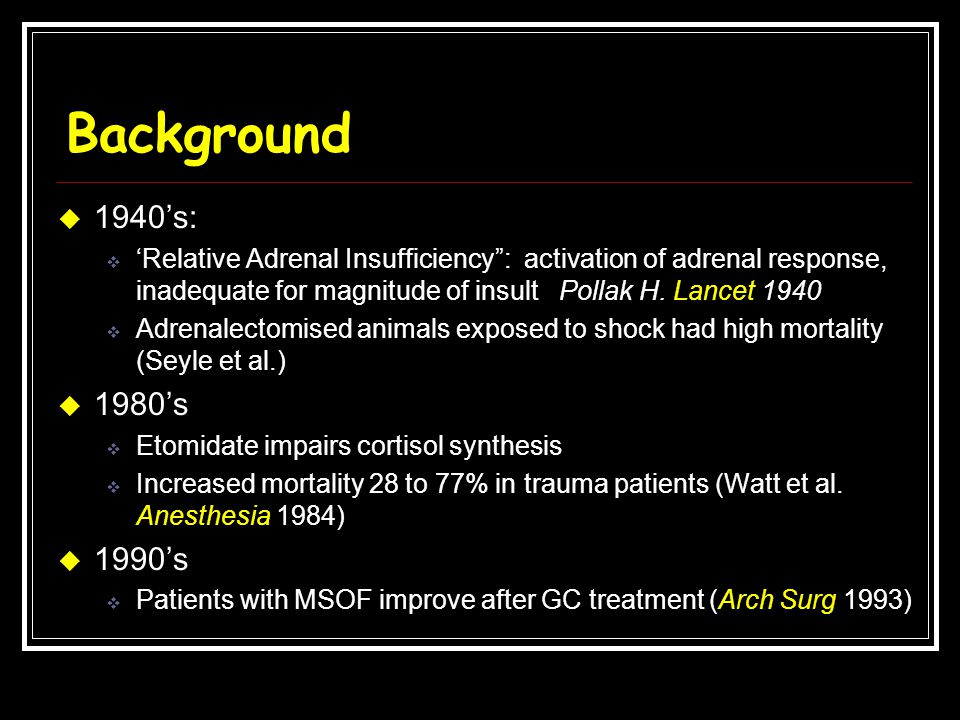 Background 1940's: 'Relative Adrenal Insufficiency : activation of adrenal response, inadequate for magnitude of insult Pollak H. Lancet 1940.