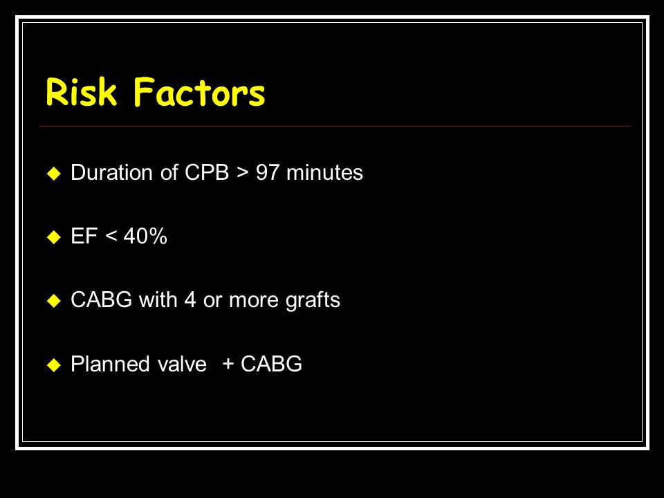 Risk Factors Duration of CPB > 97 minutes EF < 40%