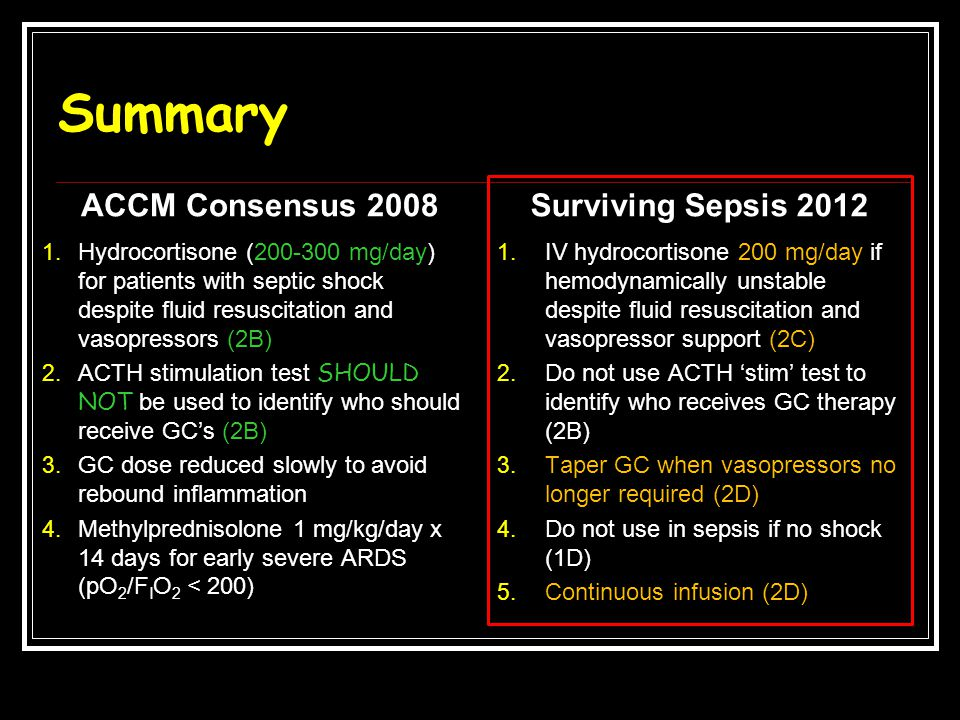 Summary ACCM Consensus 2008 Surviving Sepsis 2012