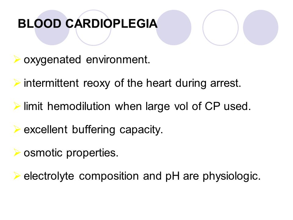 BLOOD CARDIOPLEGIA oxygenated environment.
