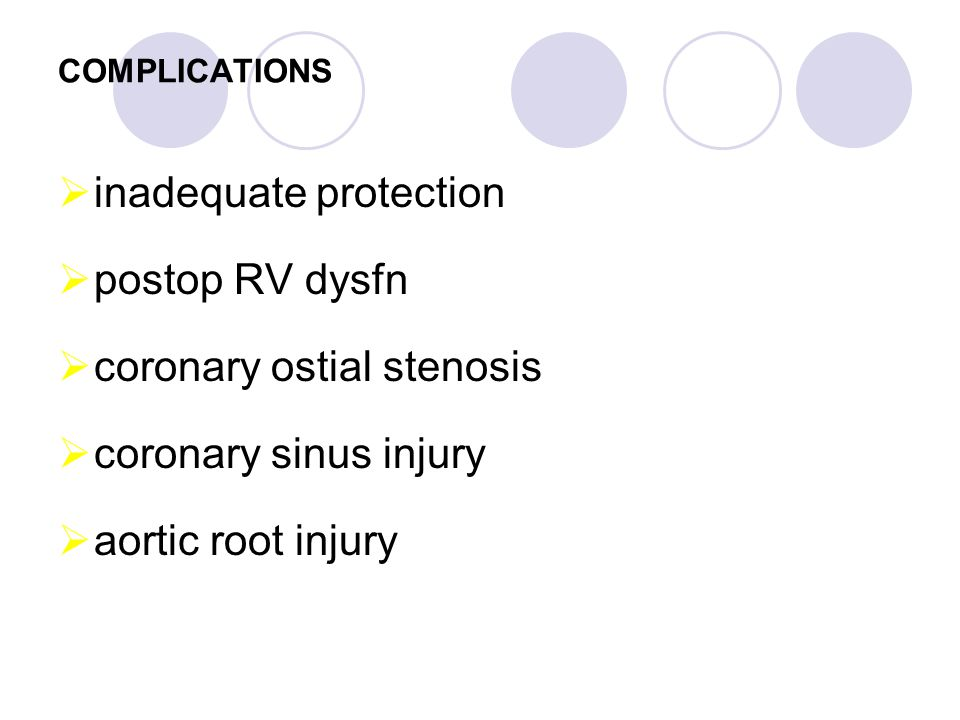 inadequate protection postop RV dysfn coronary ostial stenosis