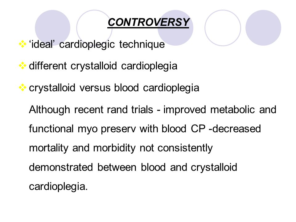 CONTROVERSY 'ideal' cardioplegic technique. different crystalloid cardioplegia. crystalloid versus blood cardioplegia.