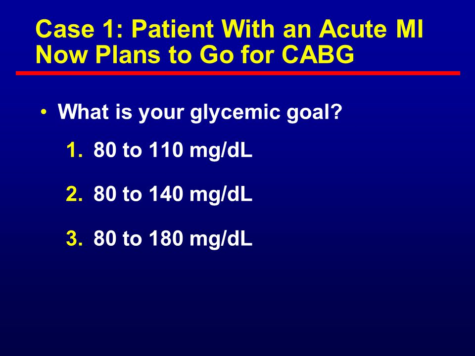 Case 1: Patient With an Acute MI Now Plans to Go for CABG