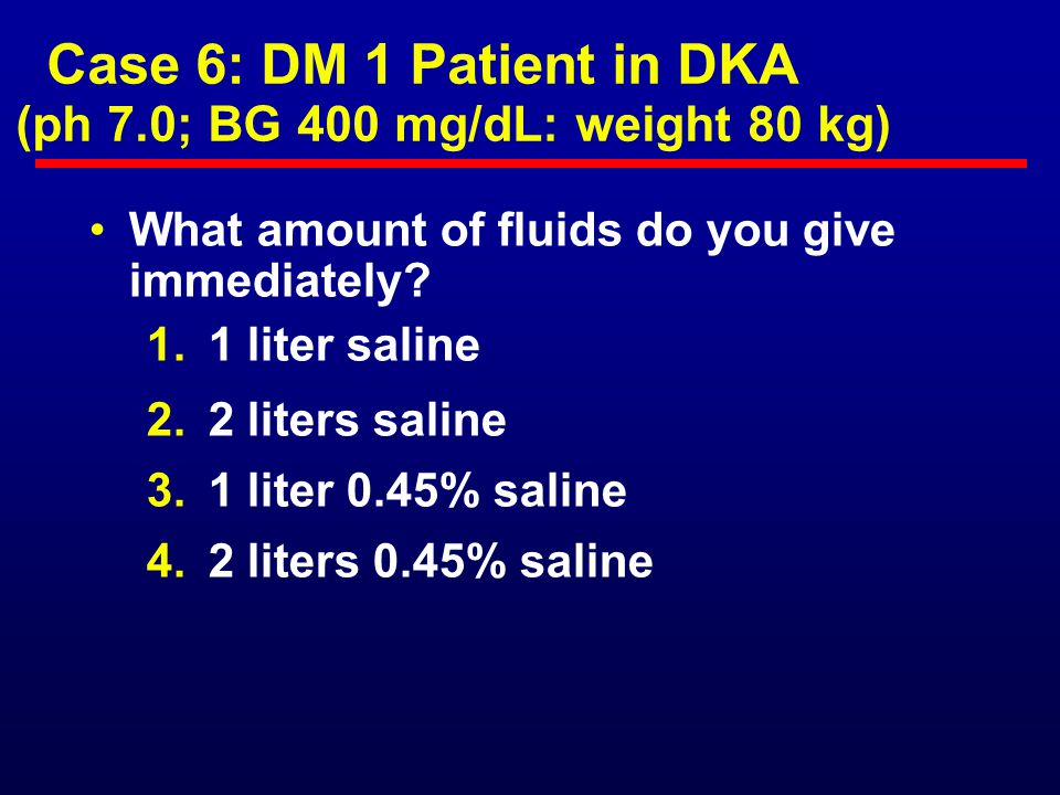 Case 6: DM 1 Patient in DKA (ph 7.0; BG 400 mg/dL: weight 80 kg)