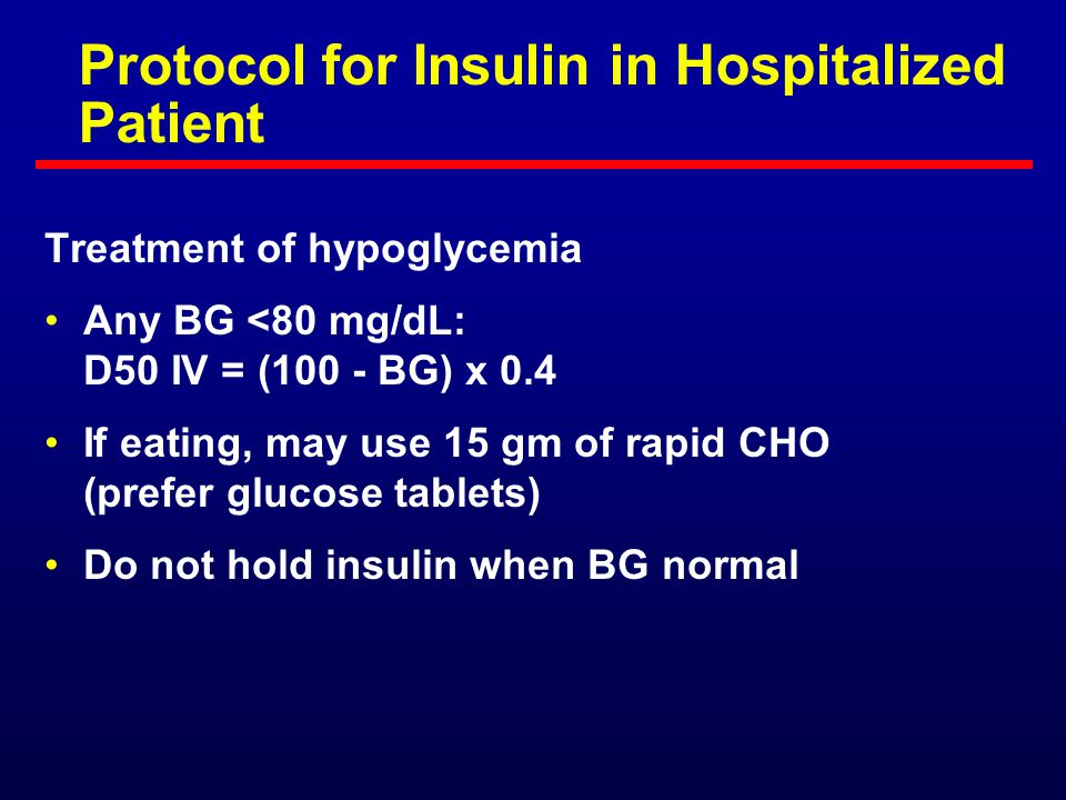 Protocol for Insulin in Hospitalized Patient