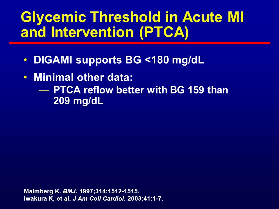 Glycemic Threshold in Acute MI and Intervention (PTCA)