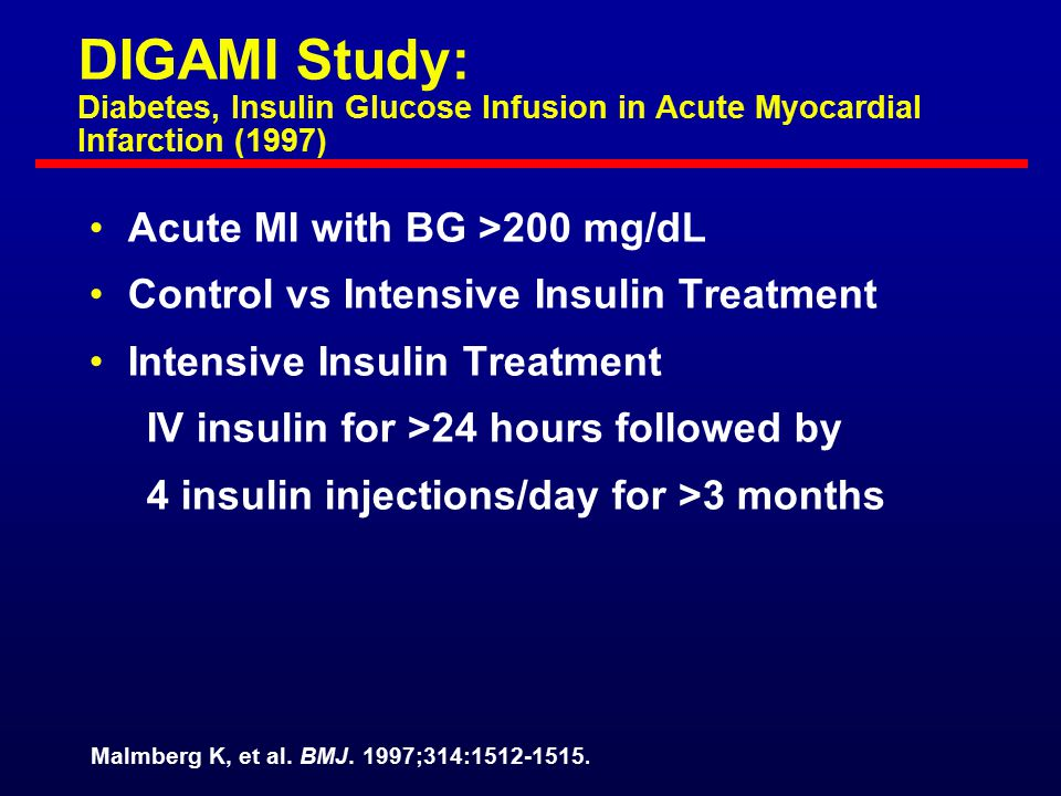 DIGAMI Study: Diabetes, Insulin Glucose Infusion in Acute Myocardial Infarction (1997)