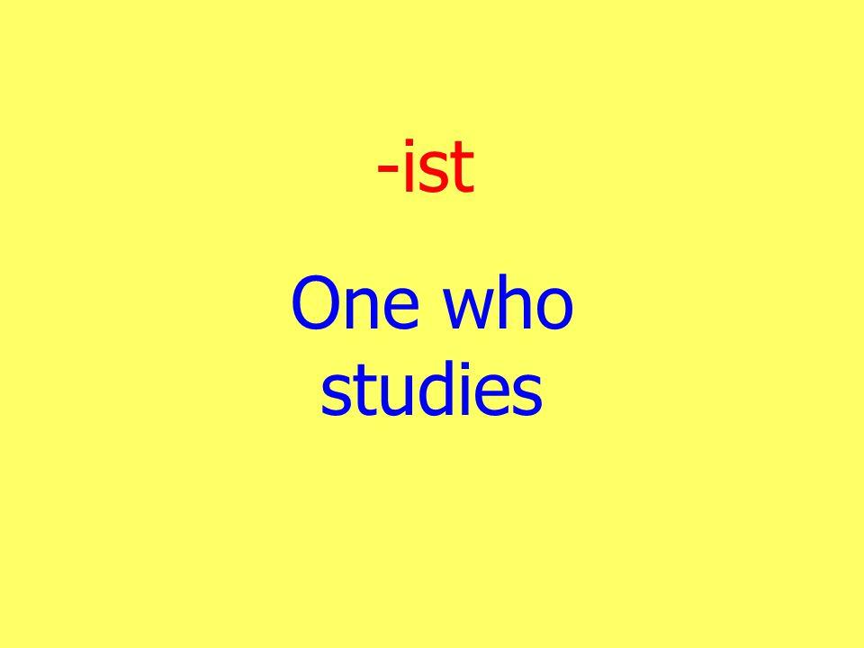 -ist One who studies