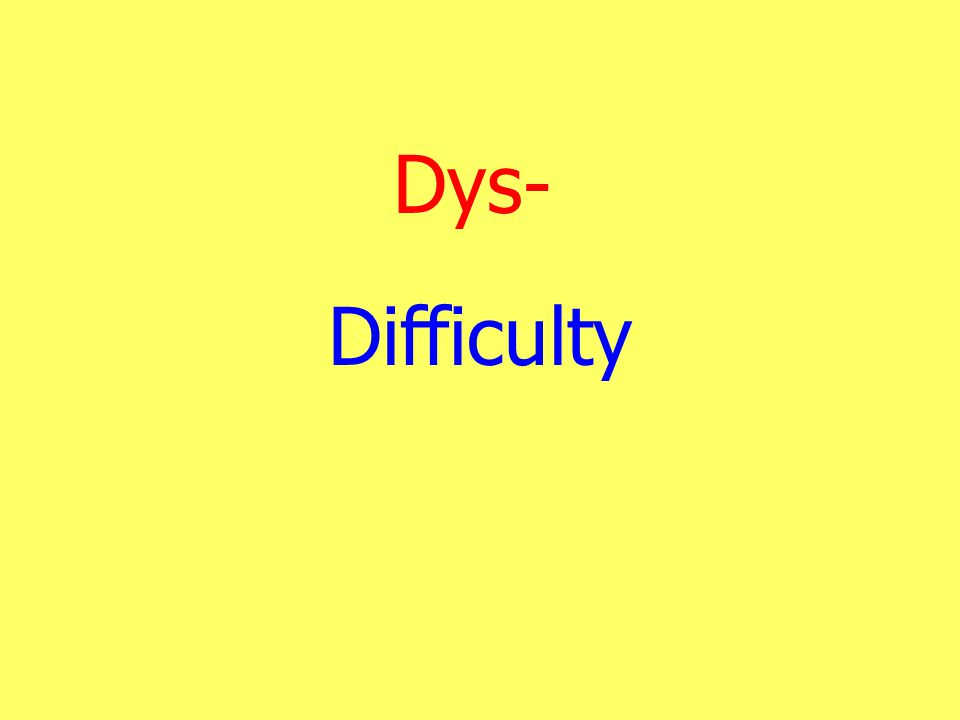 Dys- Difficulty