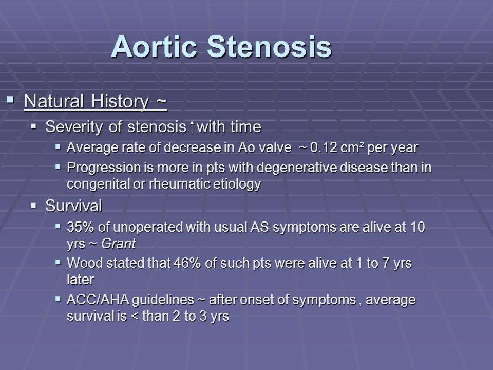 Aortic Stenosis Natural History ~ Severity of stenosis  with time
