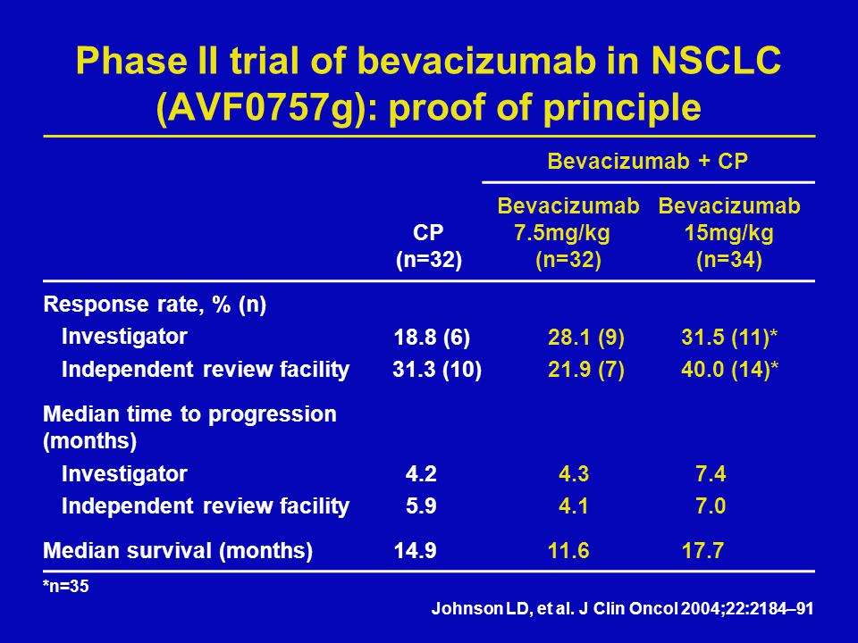 Phase II trial of bevacizumab in NSCLC (AVF0757g): proof of principle