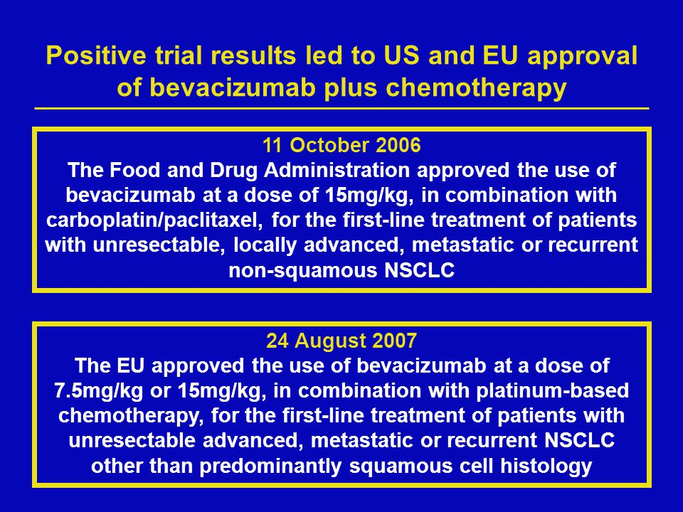 Positive trial results led to US and EU approval of bevacizumab plus chemotherapy