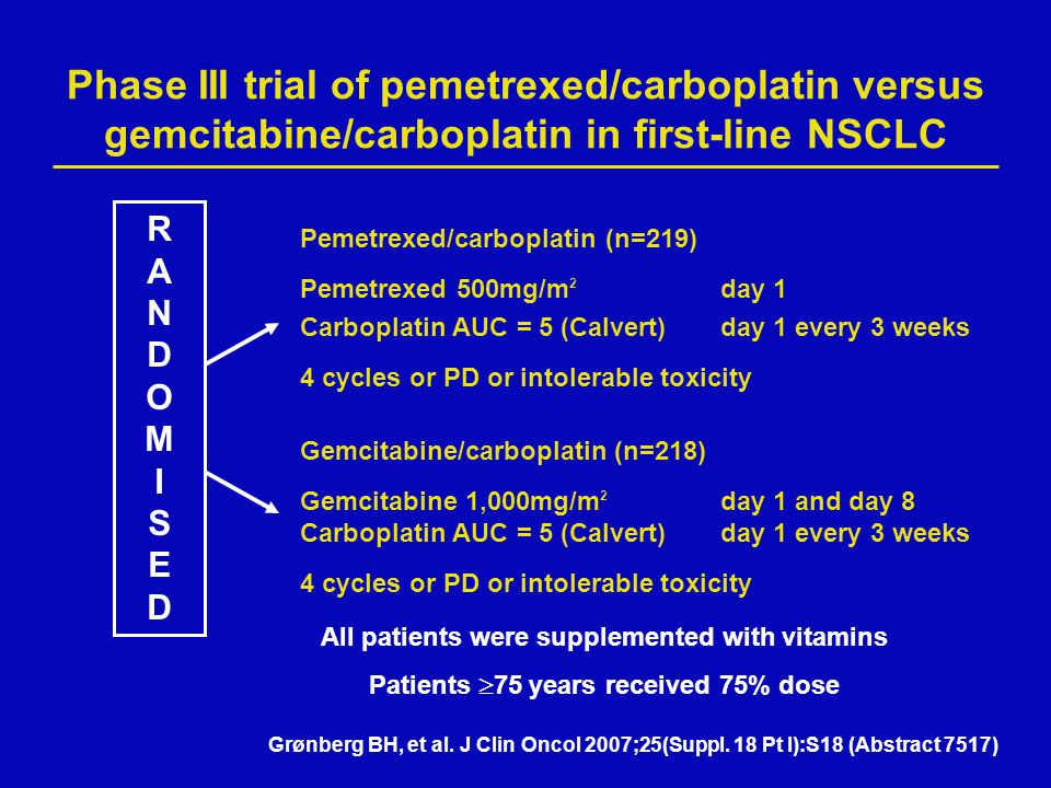 Phase III trial of pemetrexed/carboplatin versus gemcitabine/carboplatin in first-line NSCLC
