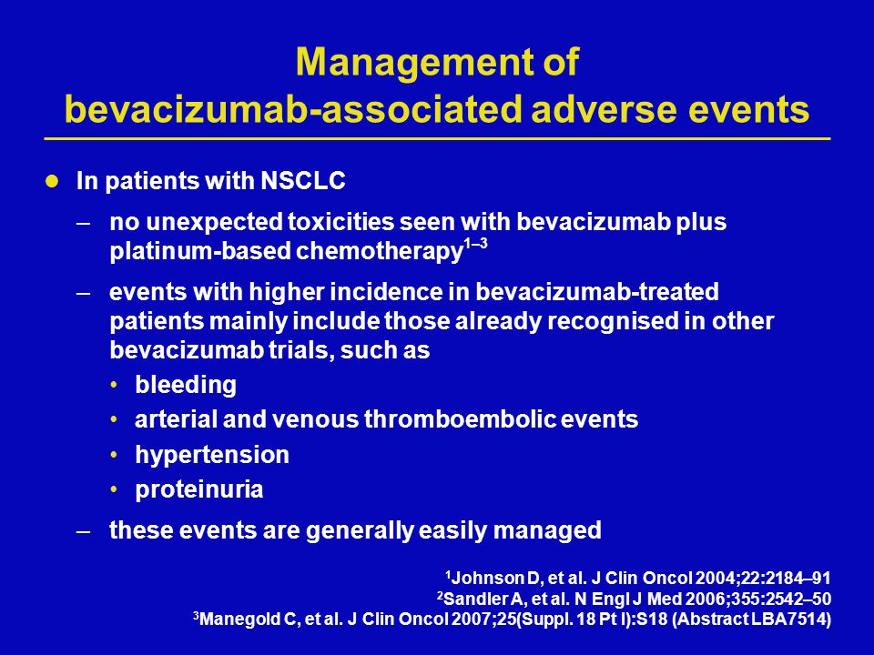 Management of bevacizumab-associated adverse events