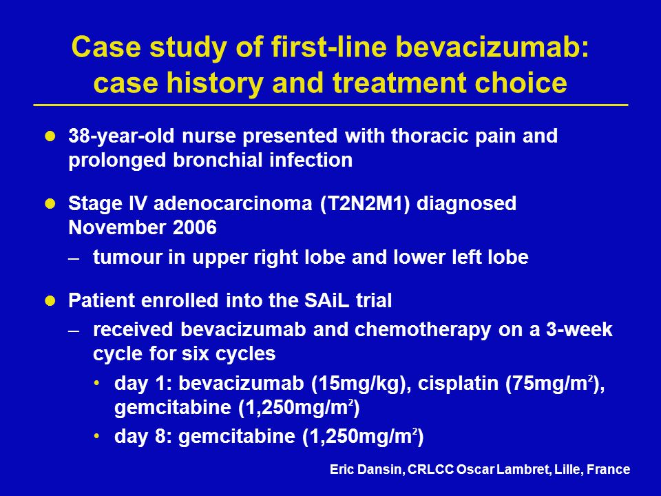 Case study of first-line bevacizumab: case history and treatment choice