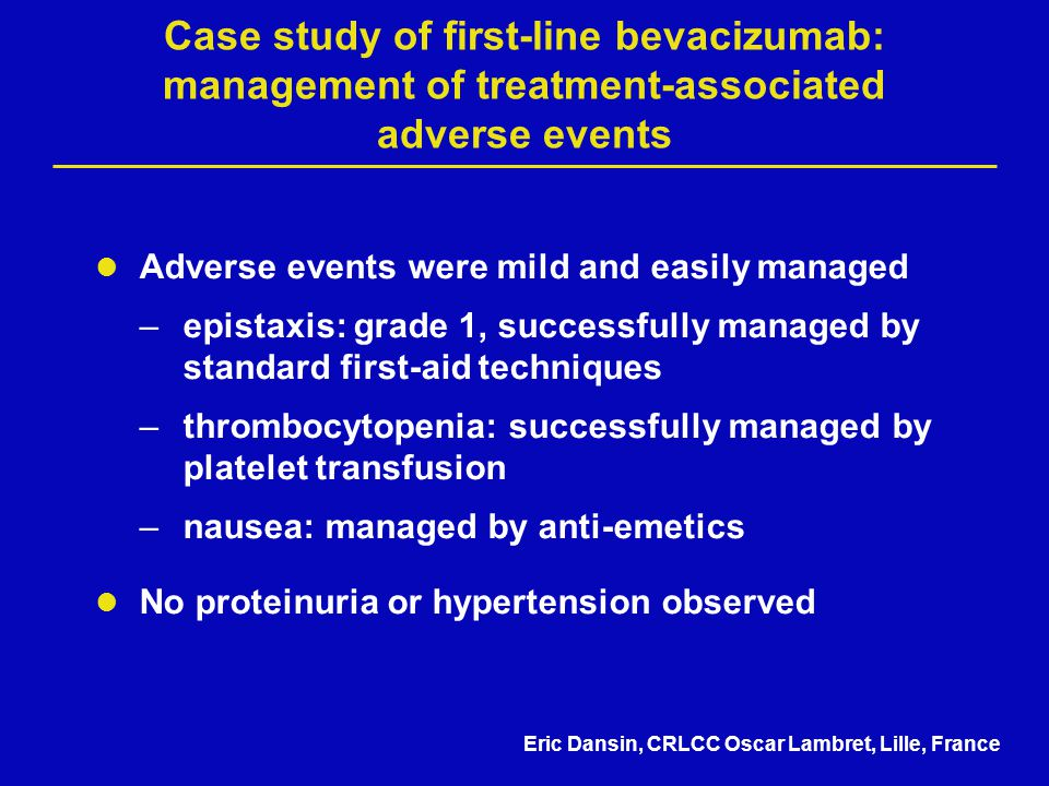 Case study of first-line bevacizumab: management of treatment-associated adverse events