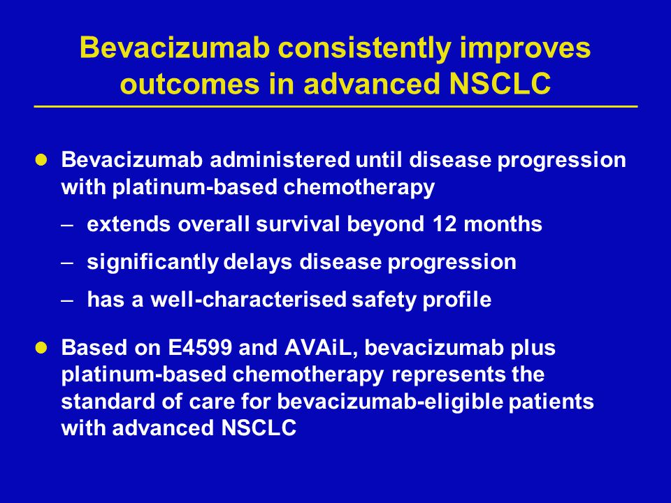 Bevacizumab consistently improves outcomes in advanced NSCLC