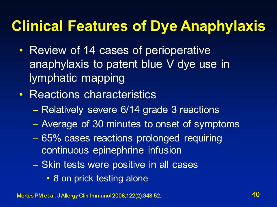Clinical Features of Dye Anaphylaxis