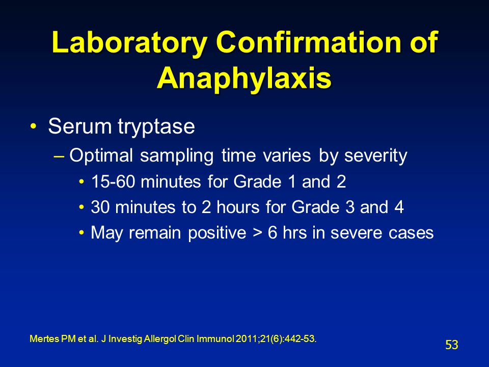 Laboratory Confirmation of Anaphylaxis