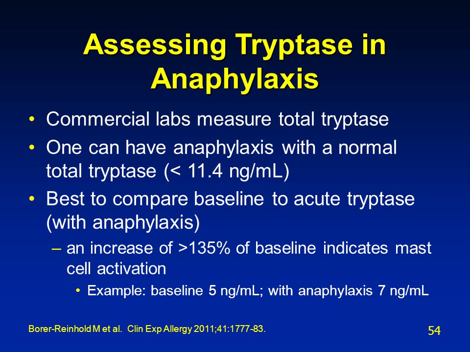 Assessing Tryptase in Anaphylaxis