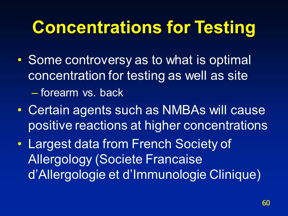 Concentrations for Testing