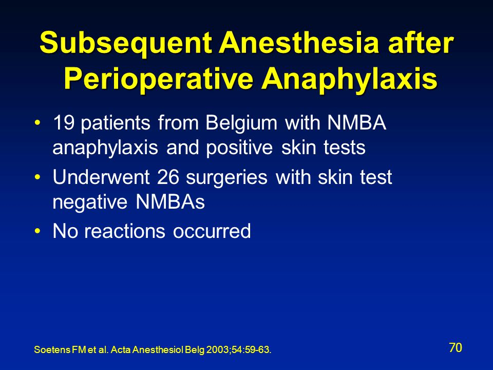 Subsequent Anesthesia after Perioperative Anaphylaxis