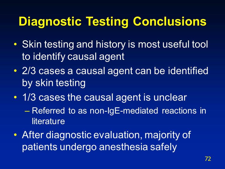 Diagnostic Testing Conclusions
