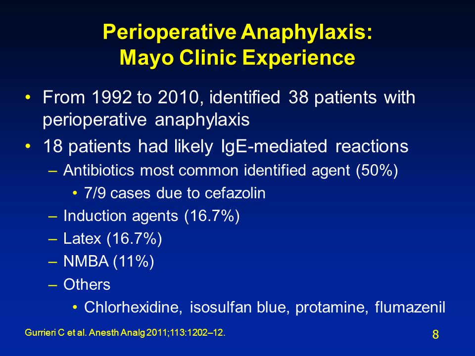 Perioperative Anaphylaxis: Mayo Clinic Experience