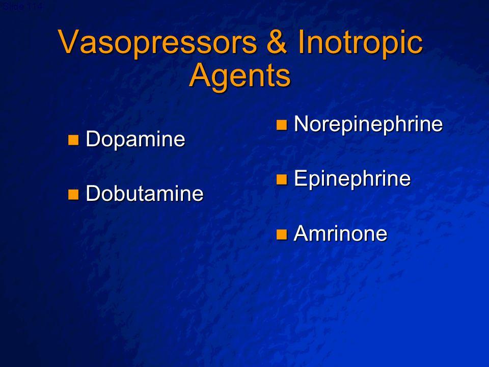 Vasopressors & Inotropic Agents