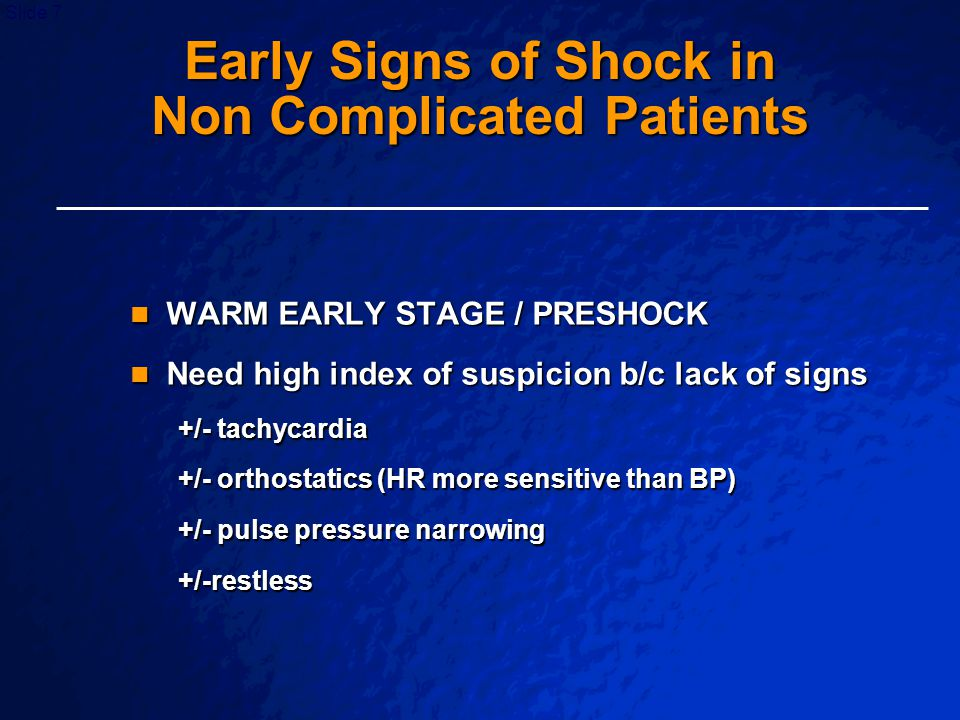 Early Signs of Shock in Non Complicated Patients