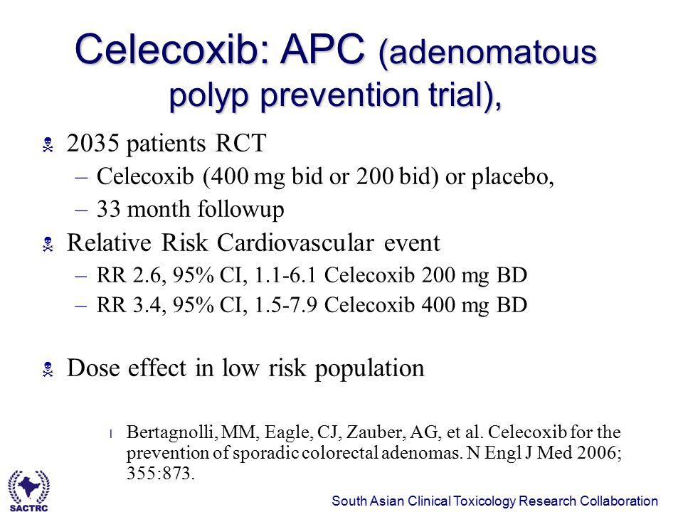 Celecoxib: APC (adenomatous polyp prevention trial),