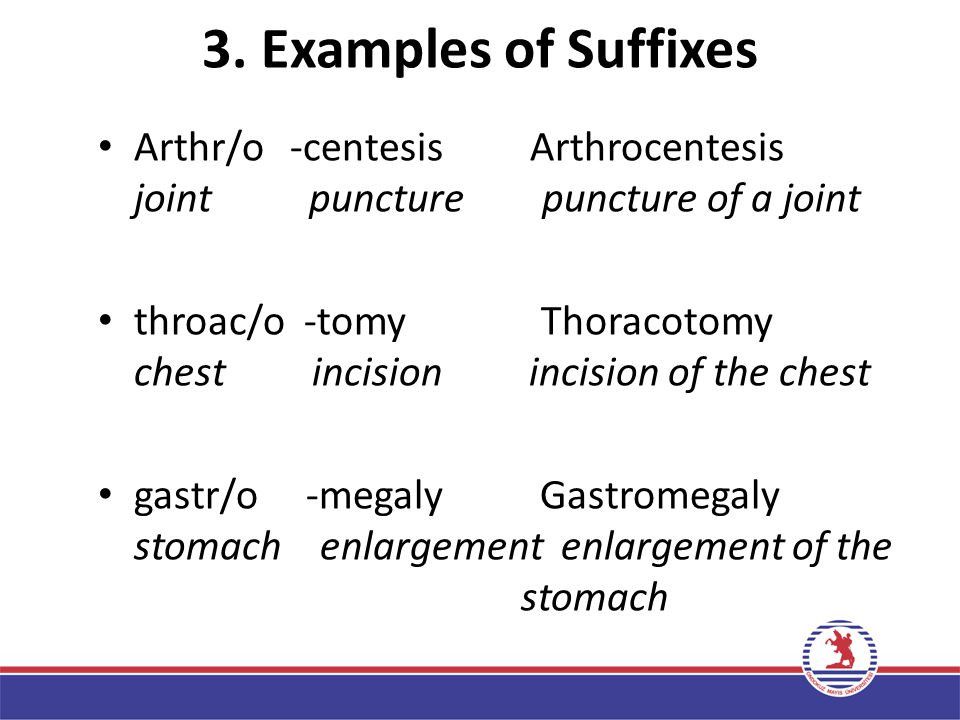 3. Examples of Suffixes Arthr/o -centesis Arthrocentesis joint puncture puncture of a joint.