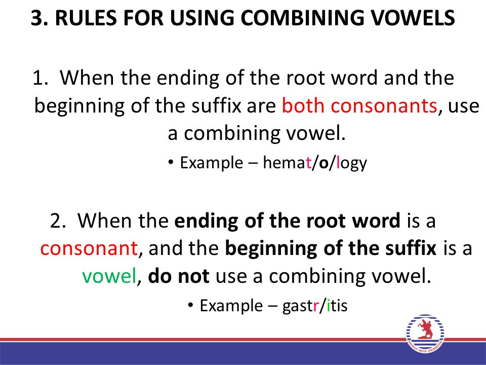 3. RULES FOR USING COMBINING VOWELS