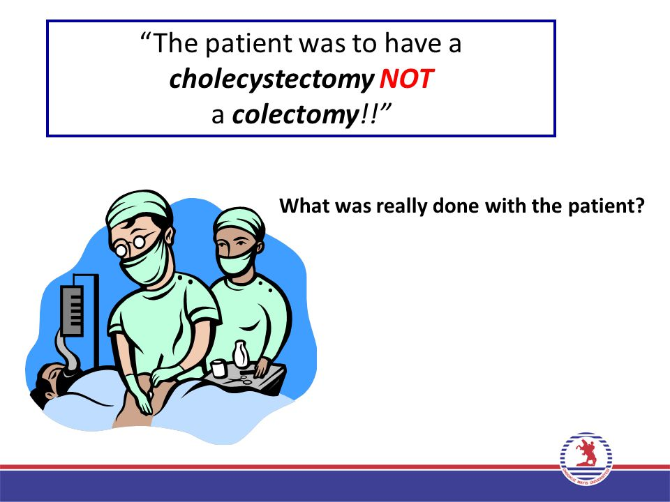 The patient was to have a cholecystectomy NOT