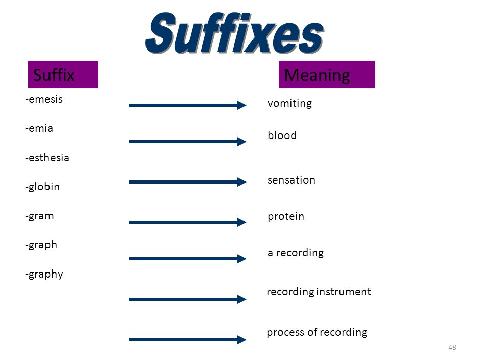 Suffixes (emesis–graphy)