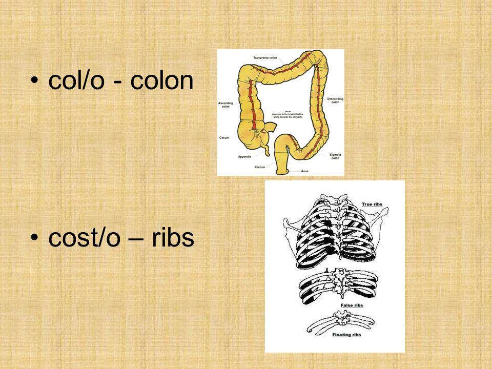 col/o - colon cost/o – ribs