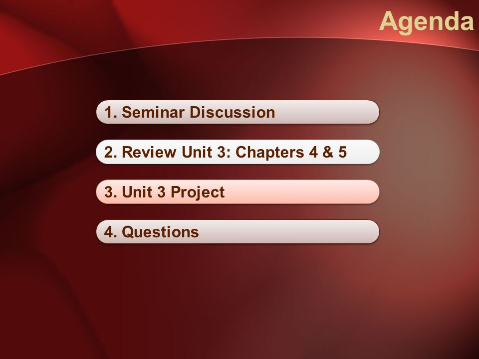 Agenda 1. Seminar Discussion 2. Review Unit 3: Chapters 4 & 5