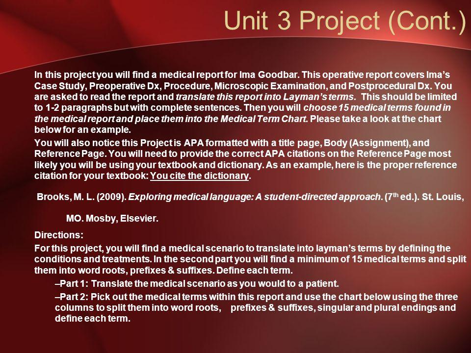 Unit 3 Project (Cont.)