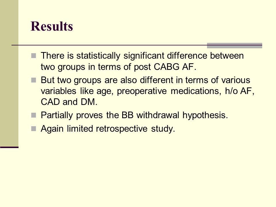 Results There is statistically significant difference between two groups in terms of post CABG AF.