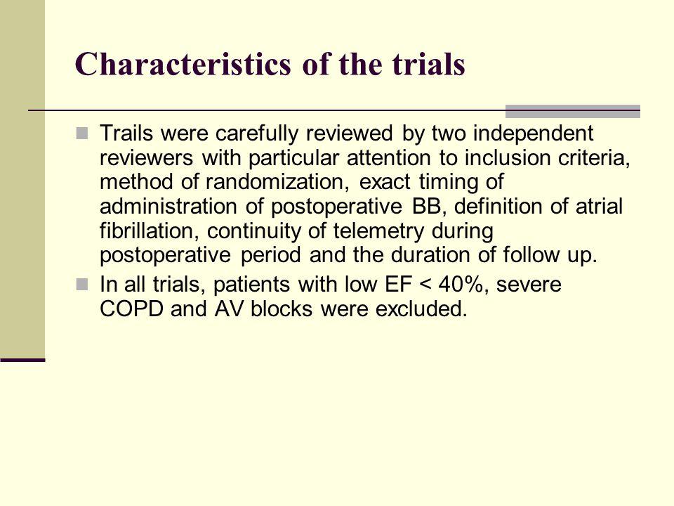Characteristics of the trials