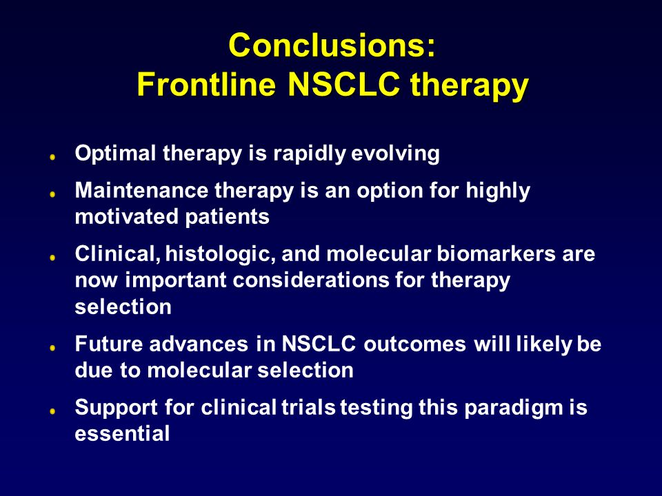 Conclusions: Frontline NSCLC therapy