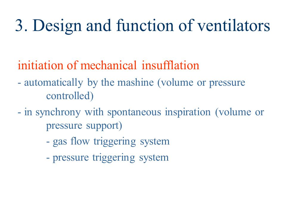 3. Design and function of ventilators