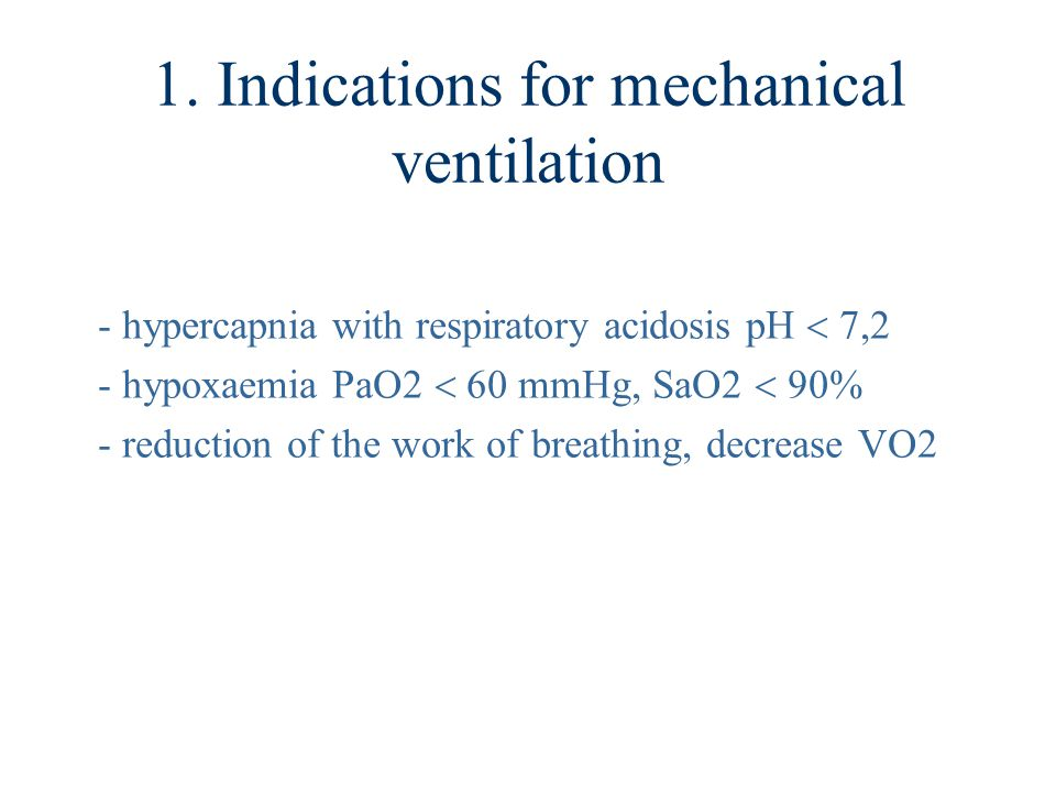 1. Indications for mechanical ventilation
