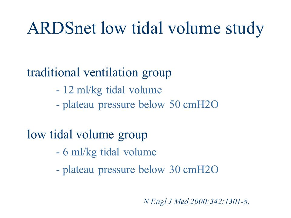 ARDSnet low tidal volume study