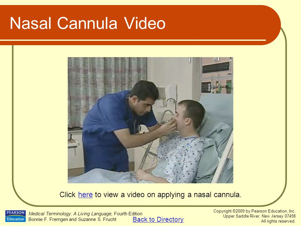Click here to view a video on applying a nasal cannula.