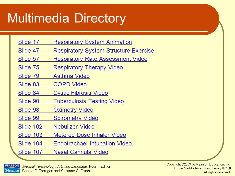Multimedia Directory Slide 17 Respiratory System Animation