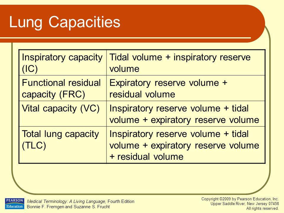 Lung Capacities Inspiratory capacity (IC)