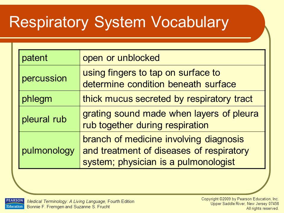 Respiratory System Vocabulary