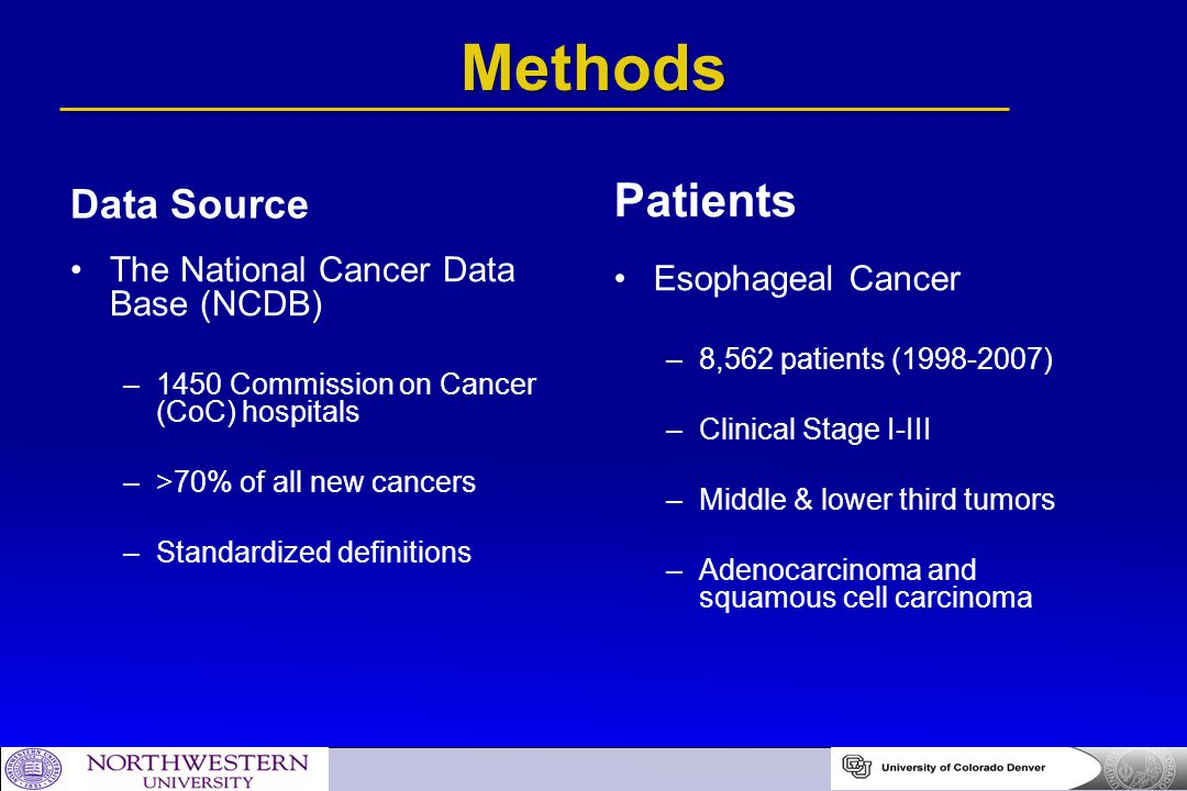 Methods Patients Data Source The National Cancer Data Base (NCDB)
